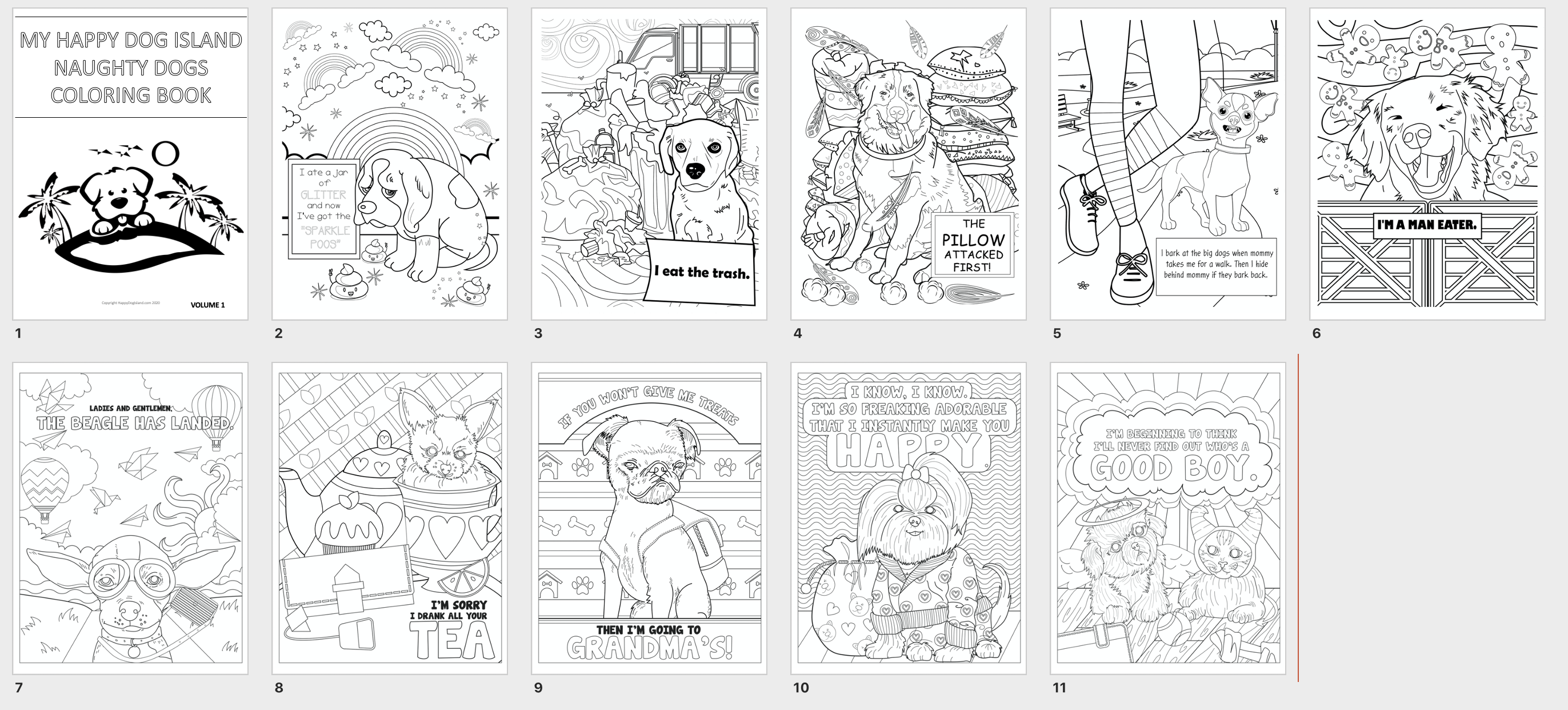 Naughty Dogs Free Coloring Book
